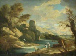 Rocky Landscape with River, Ruin and Figures