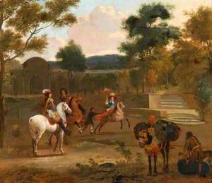 A Group on Horseback in a Landscape