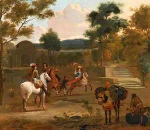 A Group on Horseback in a Landscape