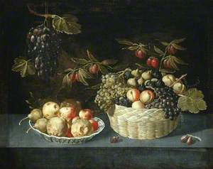 Still Life with a Basket and Dish of Fruit on a Ledge
