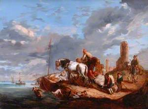 A Seashore with Figures and Horses