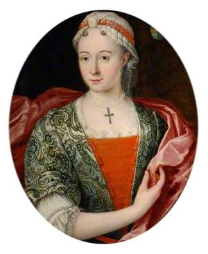 Portrait of a Lady in Green and Pink