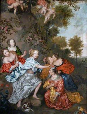 La Duchesse de la Valliere, Mistress of Louis XIV, Crowning the King with Flowers, Who is Disguised in Female Attire