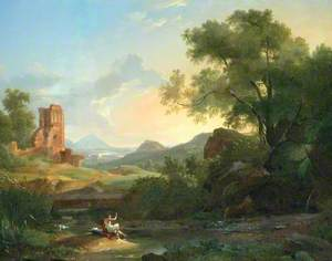 Landscape with a Man Frightened by a Serpent among Ruins