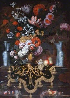 Flowers in a Gilt Vase with Porcelain Vases