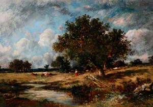 Landscape with Cows and Figures