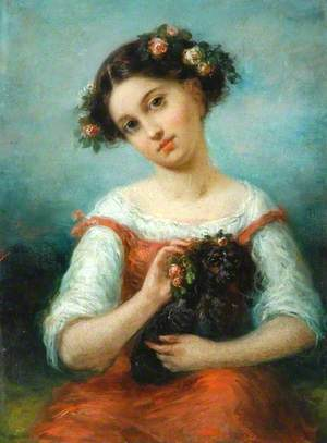 Girl Crowned with Roses, Holding a Dog