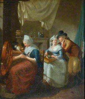Interior, a Peasant Woman Spinning, Her Daughter Making Lace and Conversing with a Young Man