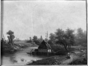Landscape with a Boathouse on a River