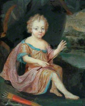 Young Boy as Cupid, Wearing a Red and Gold Dress
