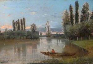 River Scene with Poplars and a Boatman