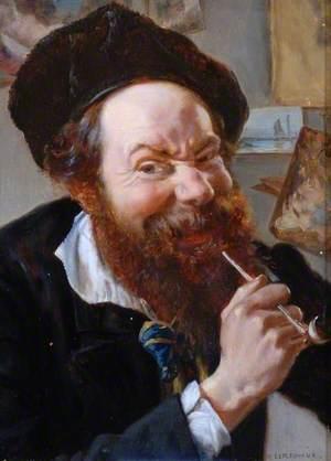 A Man Smoking a Pipe (Self Portrait)