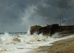 Stormy Sea at the Entrance to a Harbour