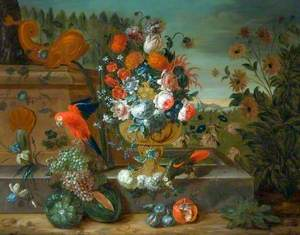 A Stone Vase of Flowers with Fruit and Two Parrots