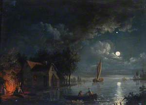 River Scene with a Bonfire, Moonlight
