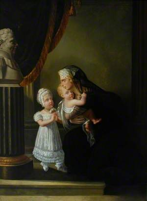 La Duchesse de Berri and Her Two Children Praying before a Bust of Her Husband