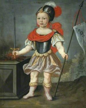 Boy in Fancy Dress as a Roman Soldier