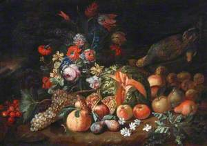 Still Life of Fruit and Flowers with a Split Watermelon