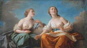 Two Muses, Allegory of the Five Senses (dessus de porte)