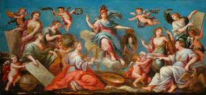 France, as Minerva, Presents the Portrait of Louis XV (or Louis XIV) to the Institut des Beaux-Arts