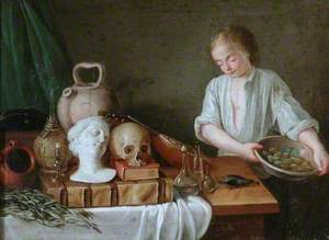 Still Life Group of a Bust, Vases and a Skull with a Boy Holding a Dish of Beans