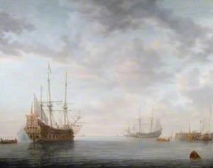 Dutch Men of War at Anchor