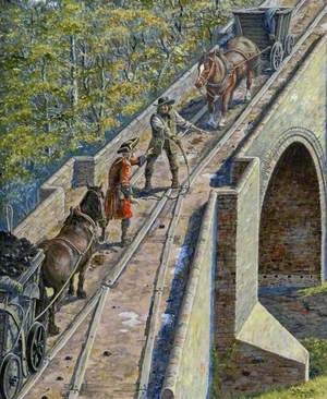 Stalemate at the Causey Arch on Tanfield Wagonway, County Durham, 1750