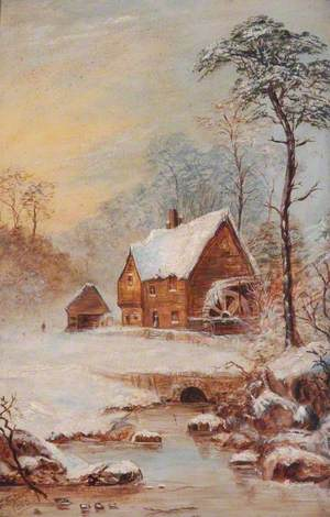 Snow Scene with Watermill