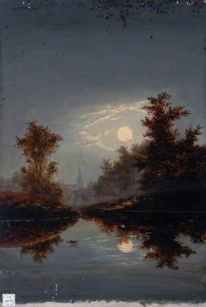 St Cuthbert's Church, Darlington, County Durham, in the Moonlight