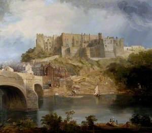 Durham Castle and Framwellgate Bridge, Looking East