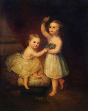 Two Children Holding a Finch and a Bird's Nest