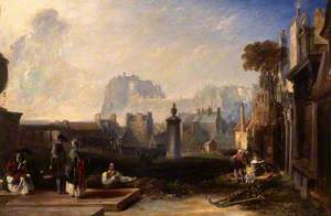 Old Edinburgh, Showing the Castle from Greyfriars Churchyard