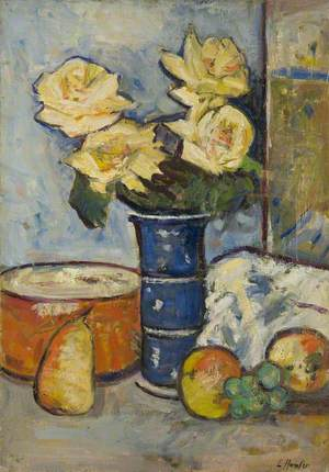Still Life (Four Creamy Roses in a Blue Vase)