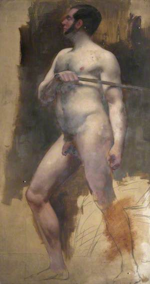 Standing Male Nude with Stick