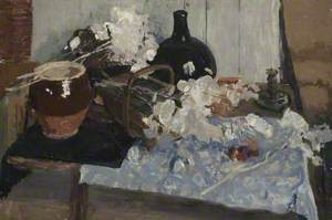 Still Life with Pots, Basket and White Flowers