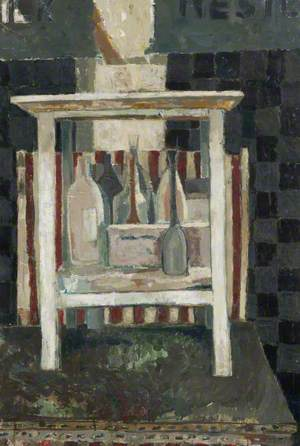Still Life with Table and Bottles