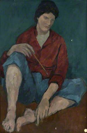 Woman Seated in Red Jacket and Blue Trousers (Self Portrait Holding Paintbrush?)