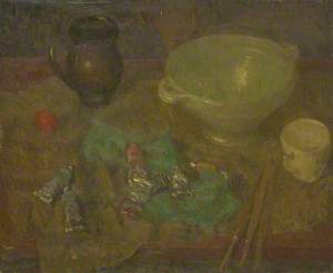 Still Life, Oil Paints and Pots