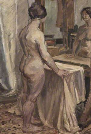 Standing Female Nude at Mirror