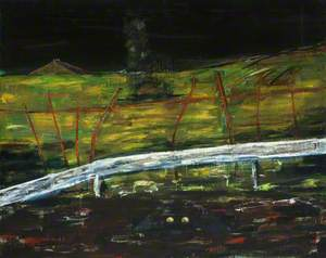 Landscape with Broken Red Fence