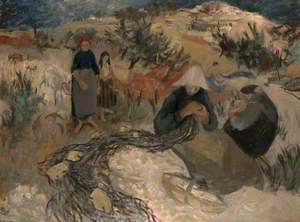 Figures in a Landscape Mending Nets