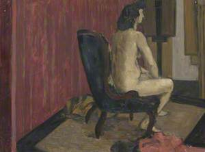 Seated Female Nude with Striped Backdrop and Easels