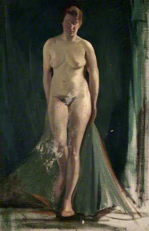 Standing Female Nude with Green Drapes