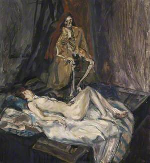 Reclining Female Nude with Skeleton