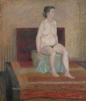 Seated Female Nude with Striped Floor Drape