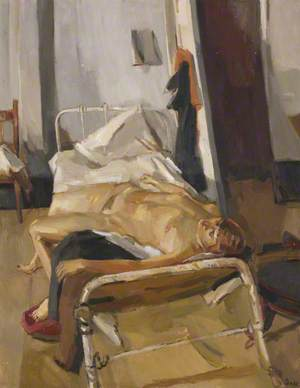 Reclining Female Nude on White Iron Bed