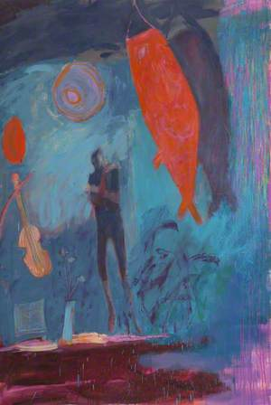 Ghostly Figure with Red Fish and Violin