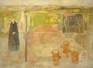 Nun with Two Workmen in a Country Landscape