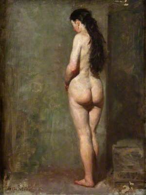 Standing Female Nude with Long Brown Hair