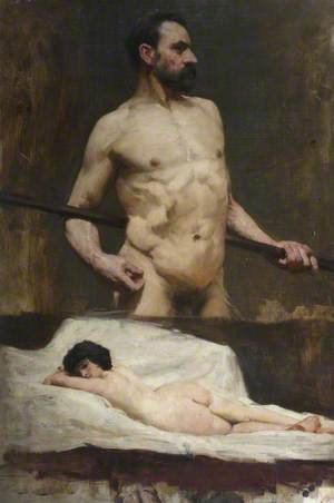 Study of Reclining Female Nude and Bearded Male
